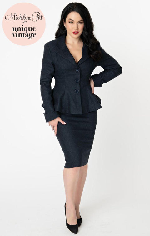 PRE ORDER Micheline Pitt For Unique Vintage Navy Tweed Rachael Suit Wiggle Skirt