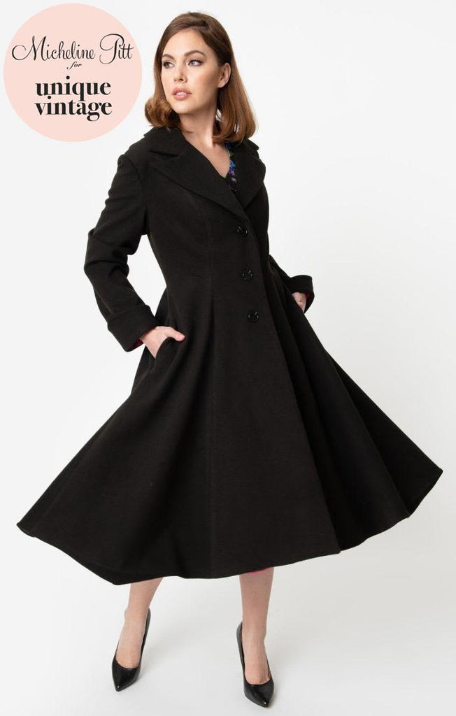 Micheline Pitt For Unique Vintage 1950s Style Black Neo-Noir Swing Coat - Natasha Marie Clothing