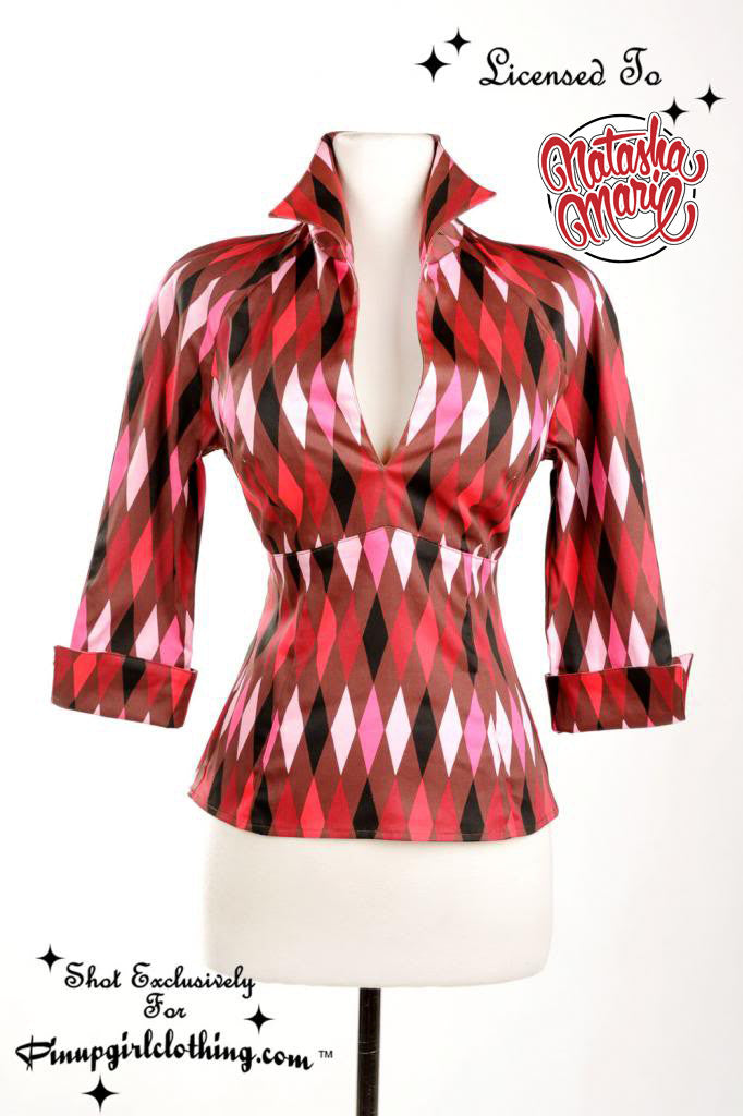 Lauren Top in Chocolate and Red Harlequin Print (Size S in stock) Phone Order Only!