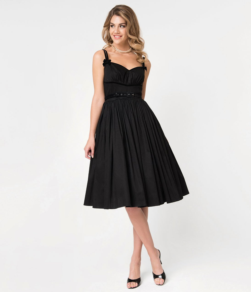 Micheline Pitt For Unique Vintage Black Cotton Alice Swing Dress