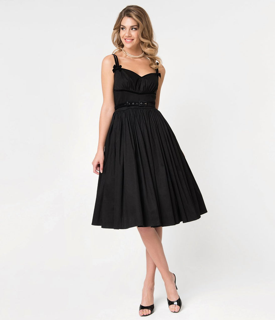 Micheline Pitt For Unique Vintage Black Cotton Alice Swing Dress (XS and S ONLY) - Natasha Marie Clothing