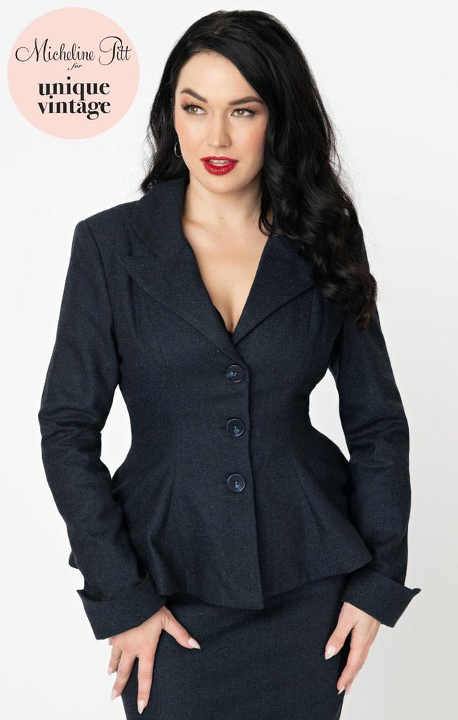Micheline Pitt For Unique Vintage Navy Tweed Rachael Suit Jacket - Natasha Marie Clothing