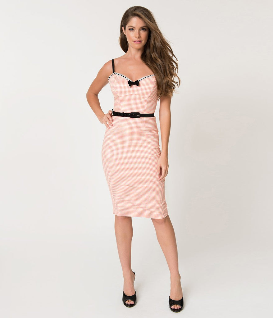 Micheline Pitt For Unique Vintage Peach Pink & White Gingham Lilli Wiggle Dress