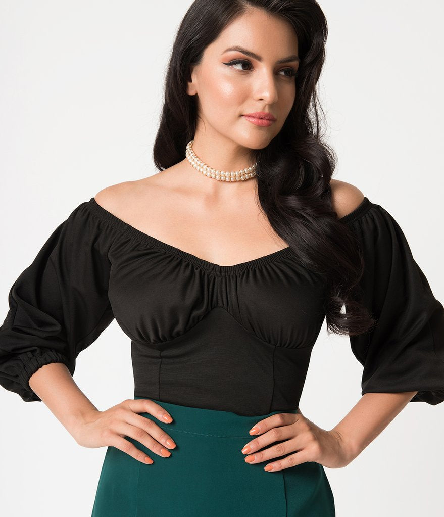 Micheline Pitt For Unique Vintage Black Off Shoulder Hissy Fit Top