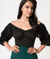 Micheline Pitt For Unique Vintage Black Off Shoulder Hissy Fit Top (XS ONLY)