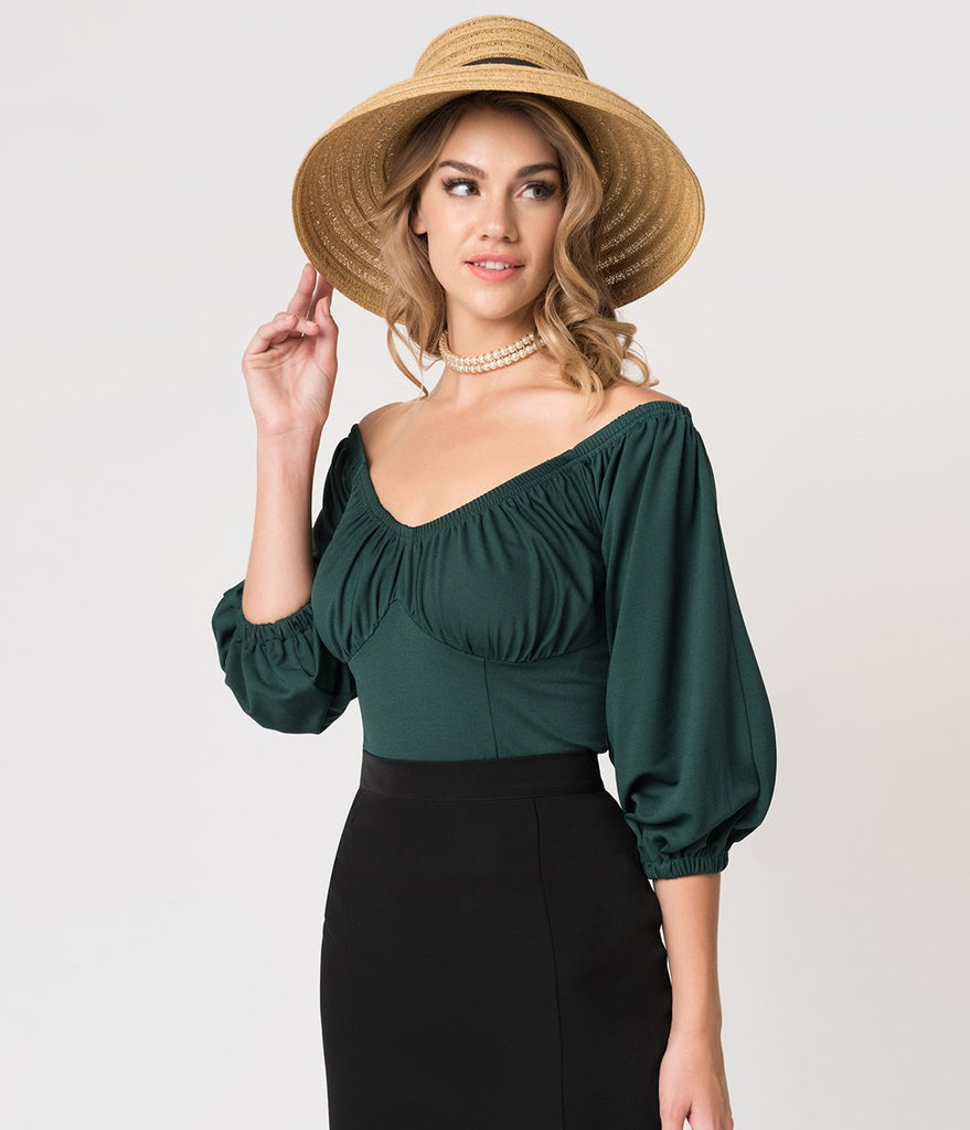 Micheline Pitt For Unique Vintage Green Off Shoulder Hissy Fit Top