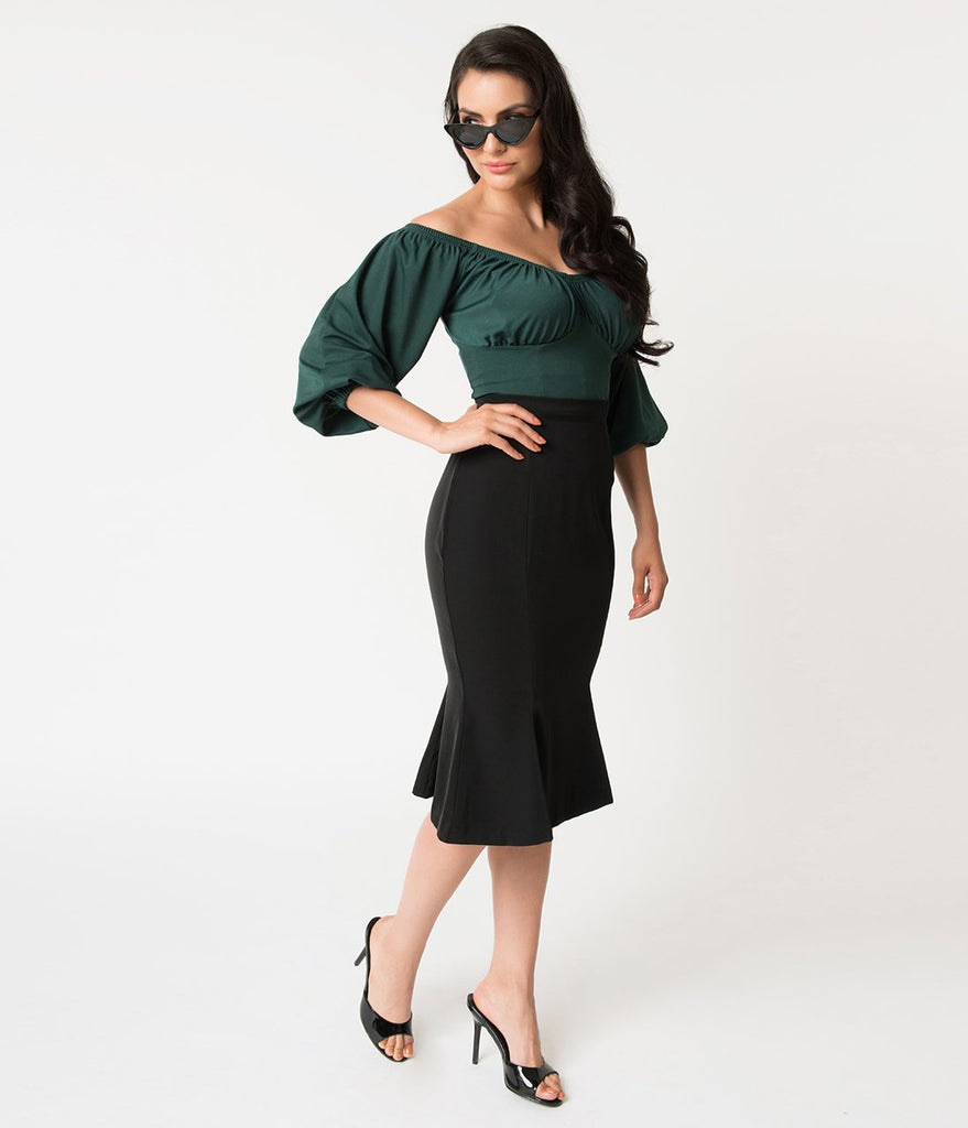b53d438529 Micheline Pitt For Unique Vintage 1940s Style Black High Waist Sassafras  Pencil Skirt