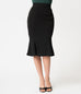 Micheline Pitt For Unique Vintage 1940s Style Black High Waist Sassafras Pencil Skirt (XS, S, 2XL and 4XL ONLY)