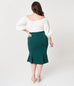 Micheline Pitt For Unique Vintage 1940s Style Green High Waist Sassafras Pencil Skirt (XS and L ONLY) - Natasha Marie Clothing