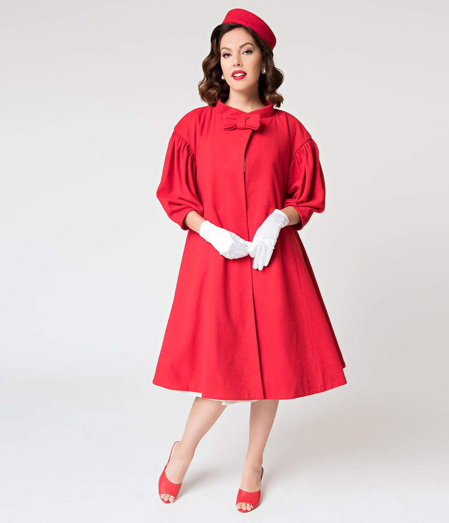 Barbie x Unique Vintage 1960s Style Red Flare Swing Coat (XL ONLY) - Natasha Marie Clothing