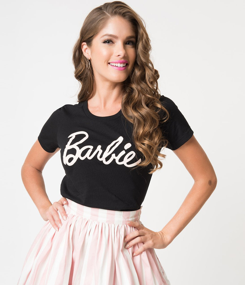 Barbie x Unique Vintage Black Barbie Logo Women's Tee - Natasha Marie Clothing
