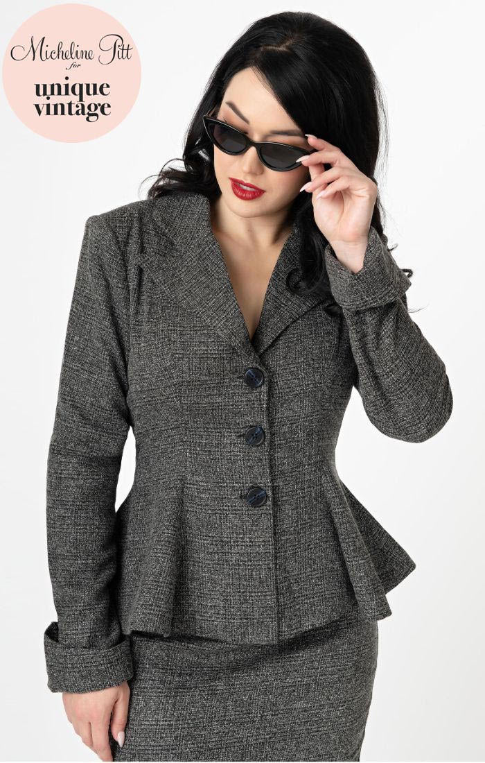 Micheline Pitt For Unique Vintage Grey Tweed Rachael Suit Jacket - Natasha Marie Clothing
