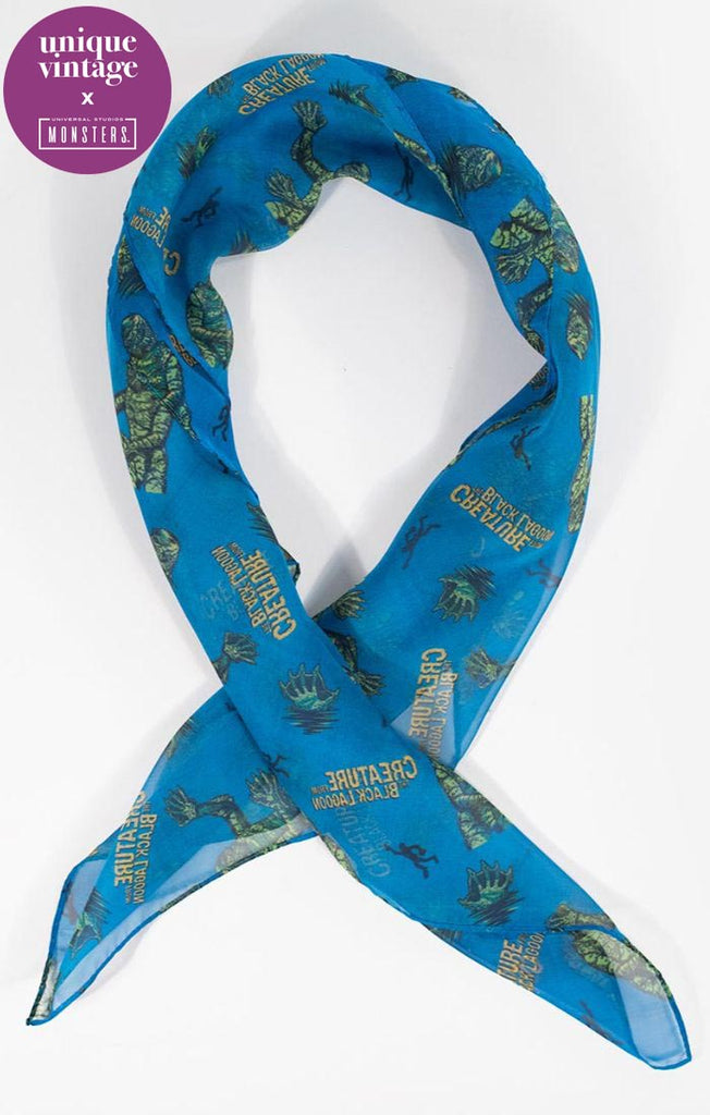 Universal Monsters x Unique Vintage Creature From The Black Lagoon Print Chiffon Hair Scarf - Natasha Marie Clothing