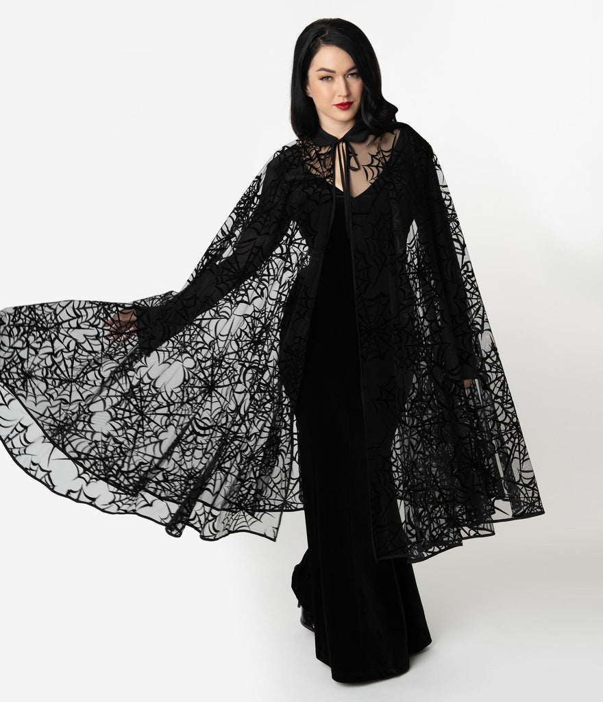 Unique Vintage Black Mesh & Velvet Spiderweb Clarke Long Cape - Natasha Marie Clothing