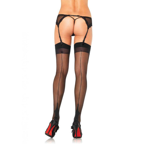 Sheer Backseam Cuban Heel Stockings Black