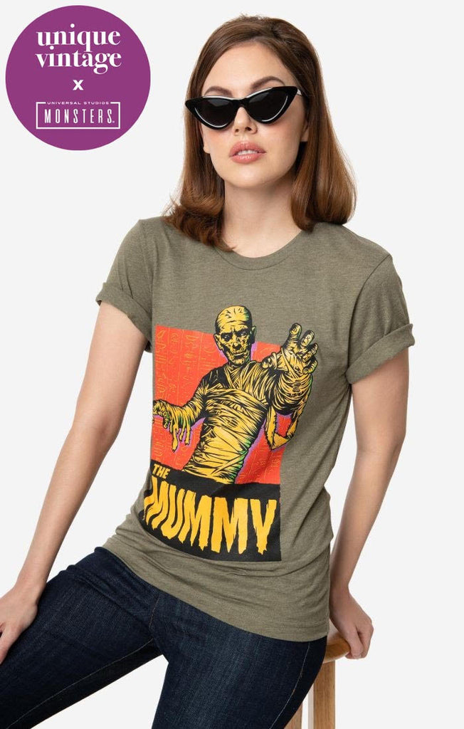 Universal Monsters x Unique Vintage Hunter Green The Mummy Unisex Tee - Natasha Marie Clothing