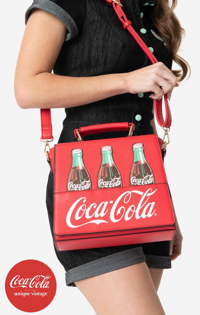 Coca-Cola Collection by Unique Vintage Red Leatherette Classic Coke Bottle Purse - Natasha Marie Clothing