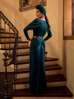 Art Deco Rusched Gown in Green (XS and 3XL ONLY)