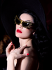Bat Glasses - Vampira® by La Femme en Noir - Gold/Black - Natasha Marie Clothing