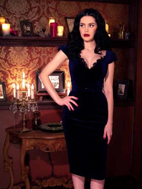Baudelaire Dress in Midnight Velvet