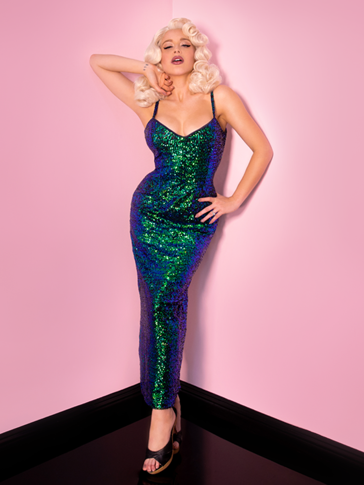 Glitz & Glamour Dress in Green Sequins - Natasha Marie Clothing