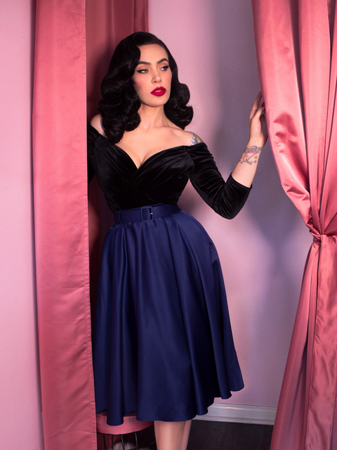 COMING SOON Circle Skirt in Midnight Blue Satin