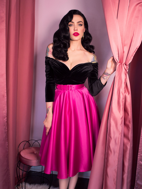 COMING SOON Circle Skirt in Hot Pink Satin
