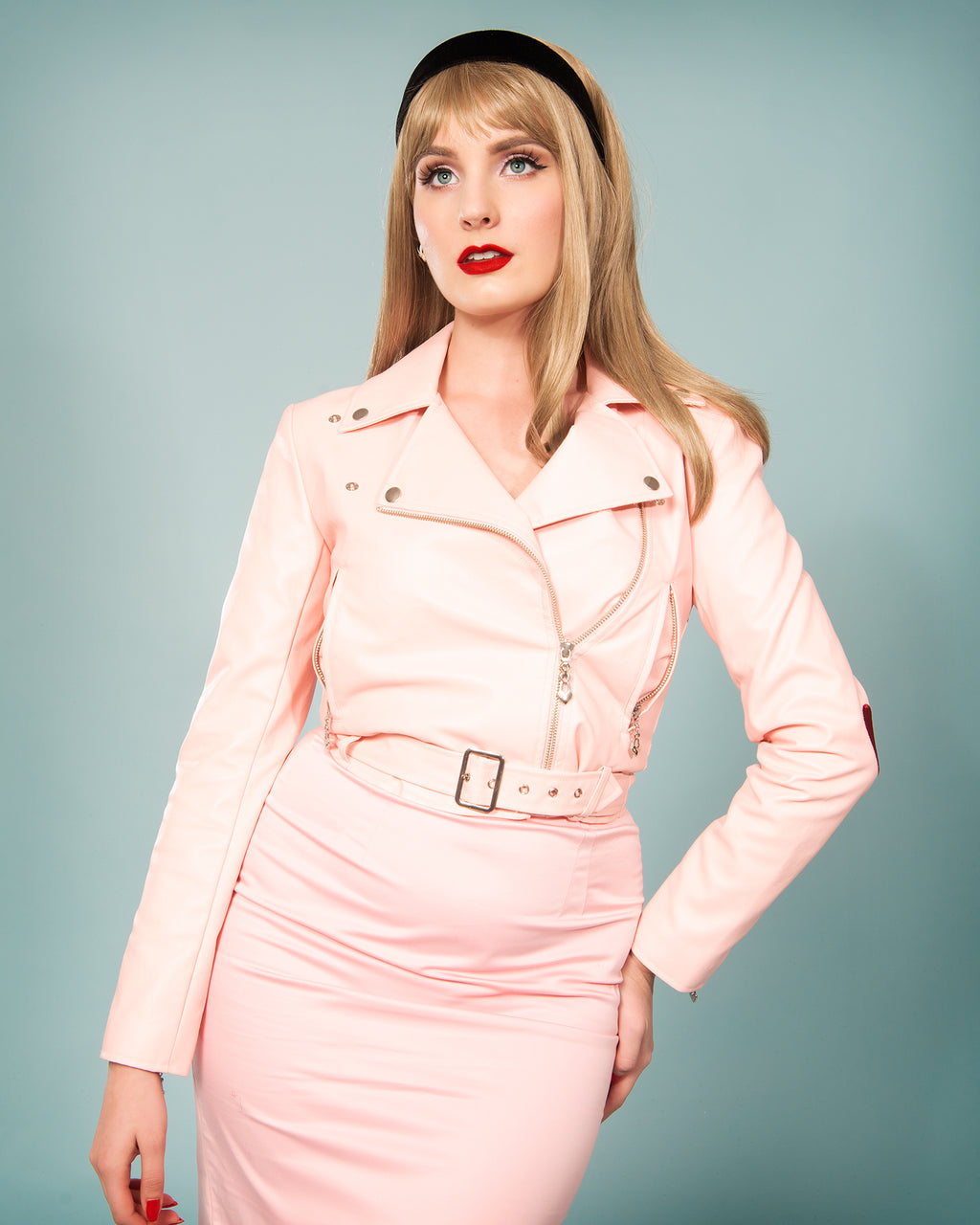 Veronica Biker Jacket in Pink - Natasha Marie Clothing