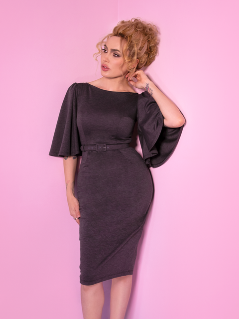 Miss Kitty Deadly Kiss Dress in Dark Grey