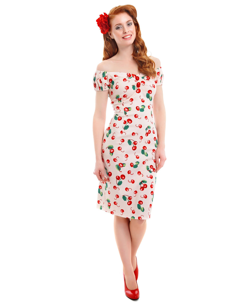 Dolores Dress in Ivory 50s Cherry Print