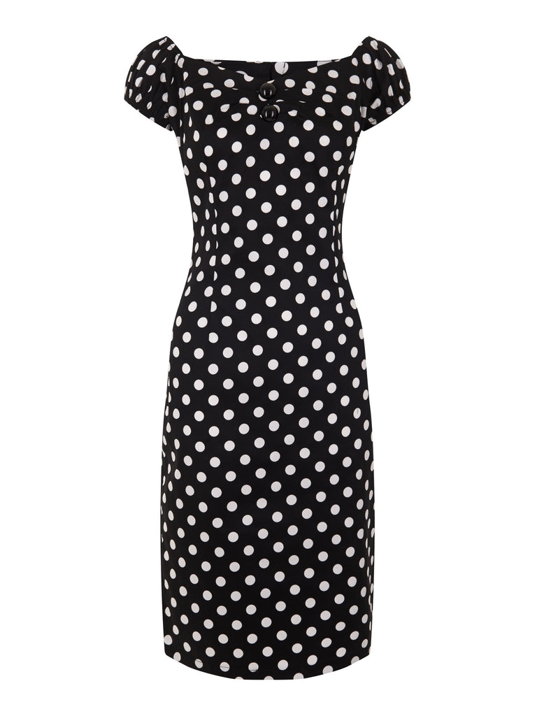 Dolores Dress in Black/White Polka