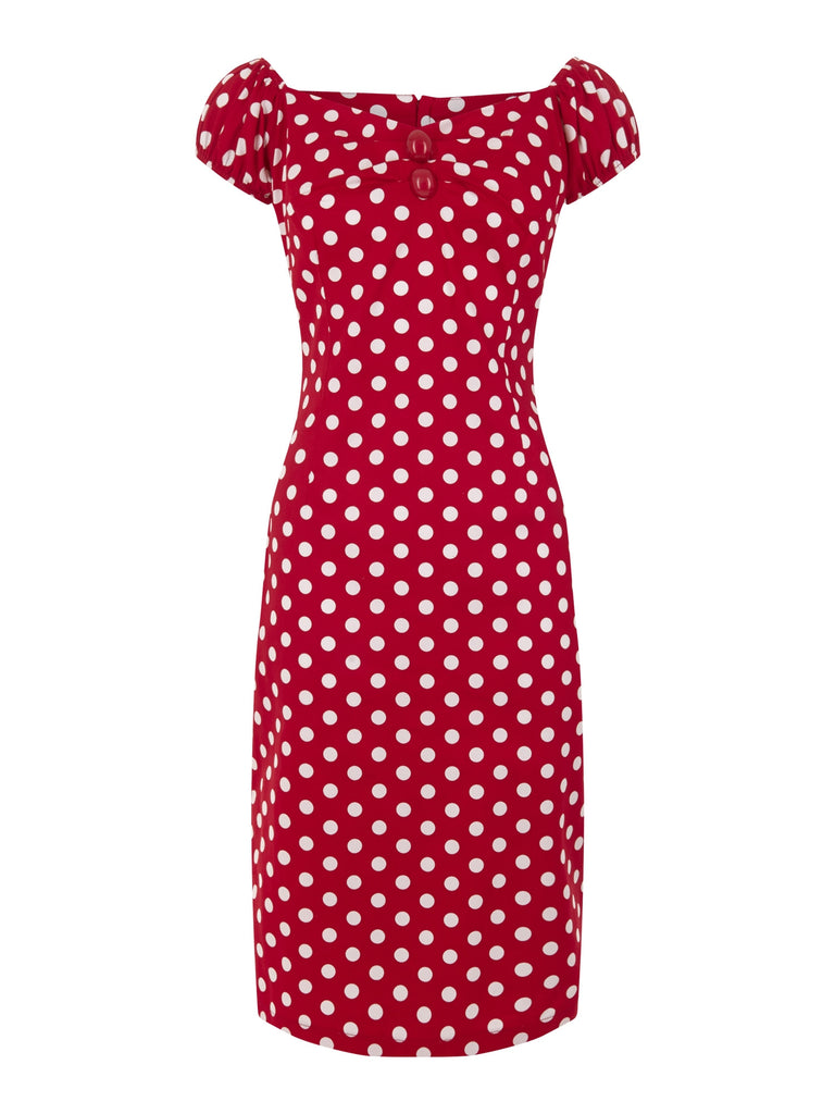 Dolores Dress in Red/White Polka (XXS ONLY) - Natasha Marie Clothing