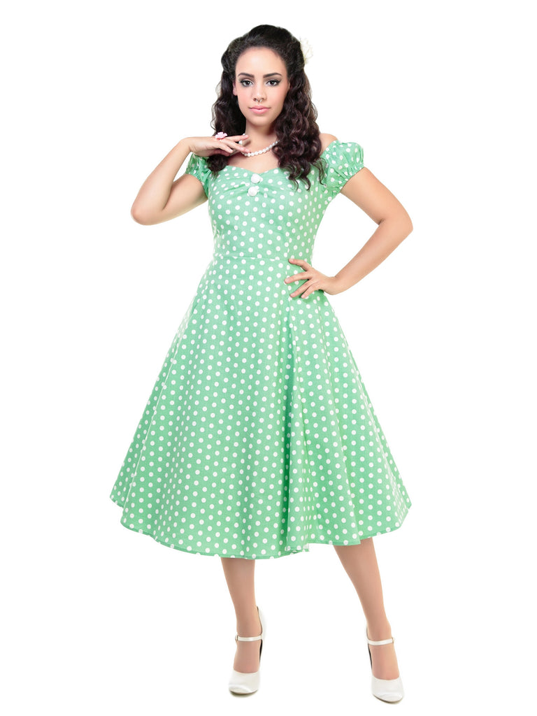 Dolores Doll Dress in Green Vintage Polka Dots (XXS ONLY) - Natasha Marie Clothing
