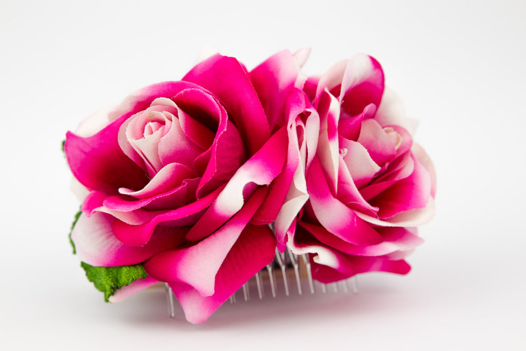 Double Roses on Comb Bright Pink