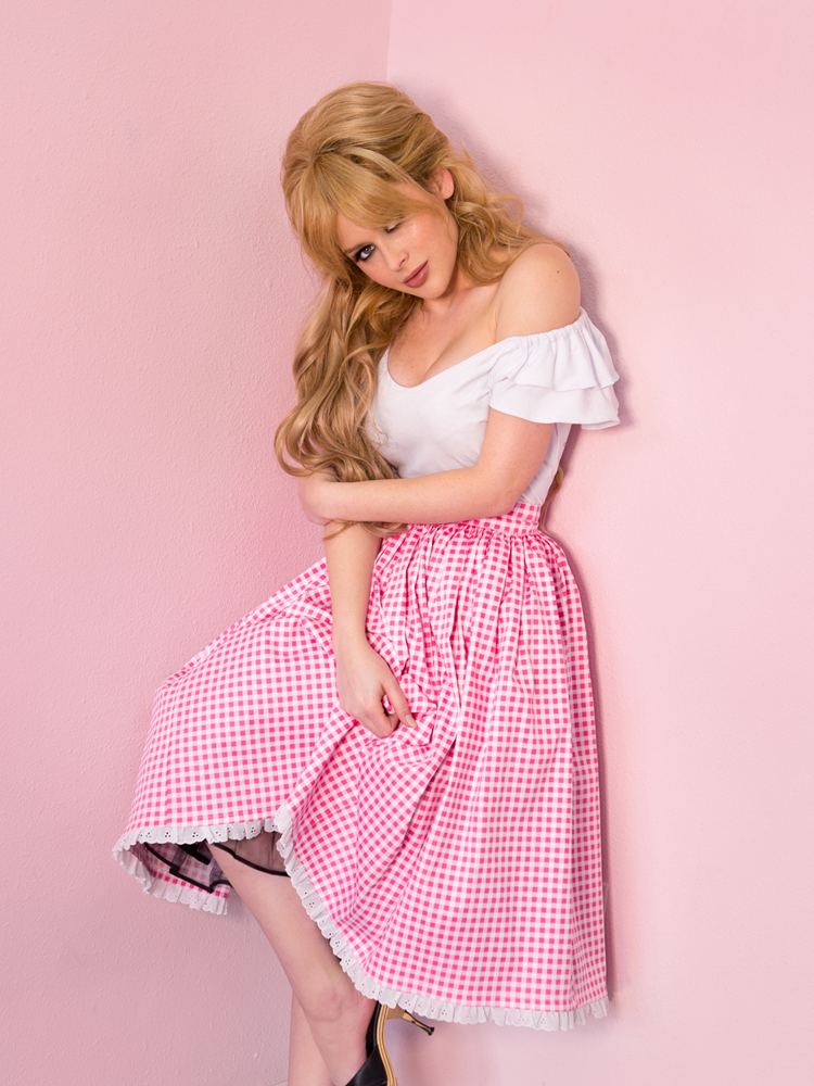 Vixen Swing Skirt in Pink Gingham