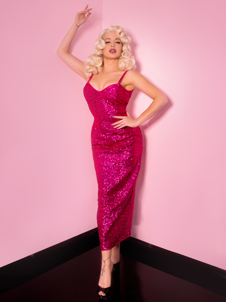 Glitz & Glamour Dress in Hot Pink Sequins - Natasha Marie Clothing