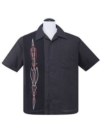Hot Rod Pinstripe Button Up in Charcoal (3XL ONLY) - Natasha Marie Clothing