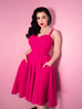 Maneater Swing Dress in Polka Dot Hot Pink Bengaline (XS ONLY)