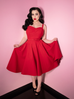 Maneater Swing Dress in Red Bengaline