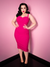 Maneater Wiggle Dress in Polka Dot Hot Pink Bengaline
