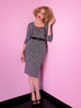 Miss Kitty Wiggle Dress in Black Stripes