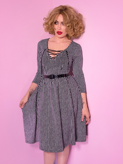 Miss Kitty Swing Dress in Black Stripes (S and XL ONLY)