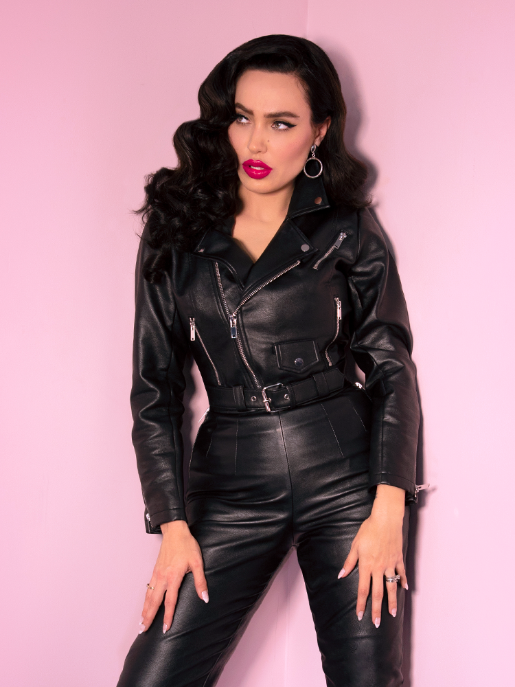 PRE ORDER Bad Girl Vegan Cropped Motorcycle Jacket (XS, 2XL & 4XL ONLY) - Natasha Marie Clothing
