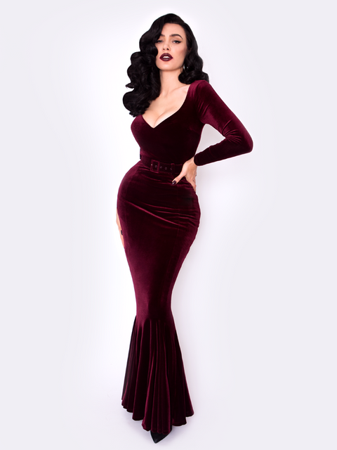 Black Marilyn Gown in Oxblood Velvet (3XL ONLY)