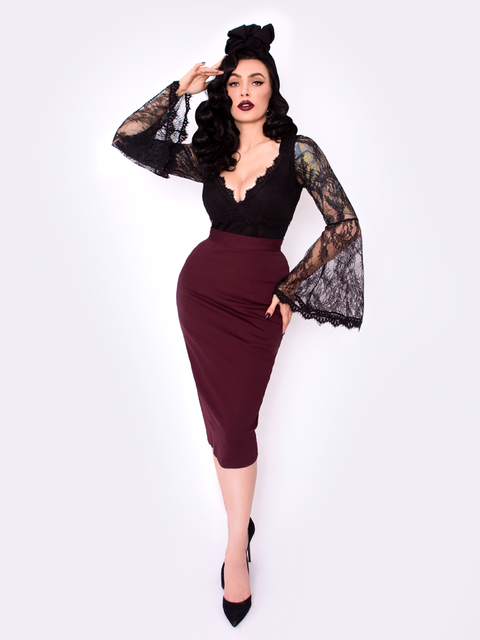 PRE ORDER Vamp Pencil Skirt in Oxblood with Lining