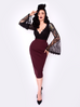 Vamp Pencil Skirt in Oxblood with Lining - Natasha Marie Clothing