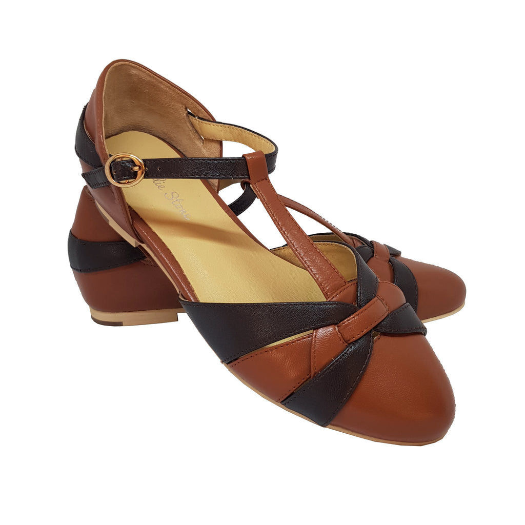 Charlie Stone Peta Shoes - Two Tone Brown - Natasha Marie Clothing