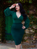 Vamp Pencil Skirt in Dark Green with Lining