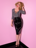 Miss Kitty Pencil Skirt in Black Vinyl (L ONLY)
