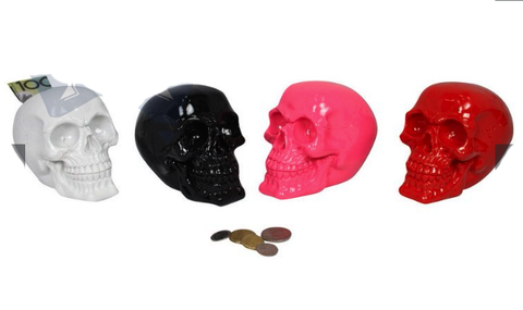 15cm Skull Money Box- Available in 4 Colours